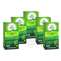 Tulsi Green Tea Classic 25 Tea Bags oragnic india 15% discount pack 5